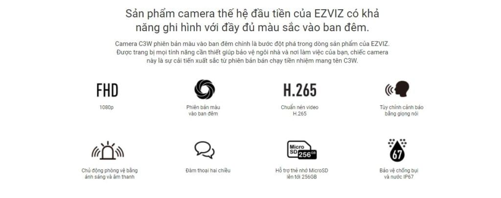 Camera Wifi 2MP EZVIZ 1080P C3W Full color (CS-CV310-A0-3C2WFRL)