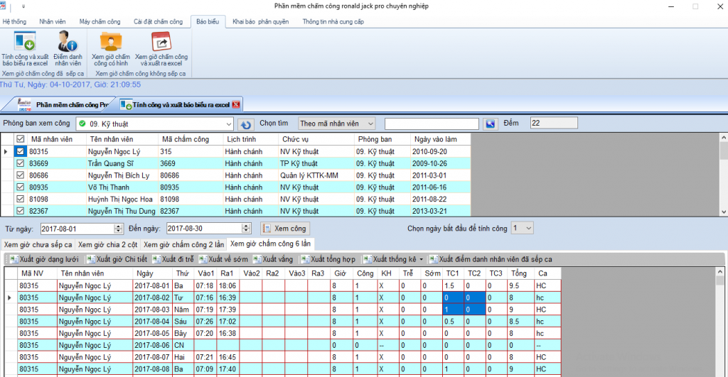 Phần mềm chấm công ronald jack pro Xuất Báo cáo