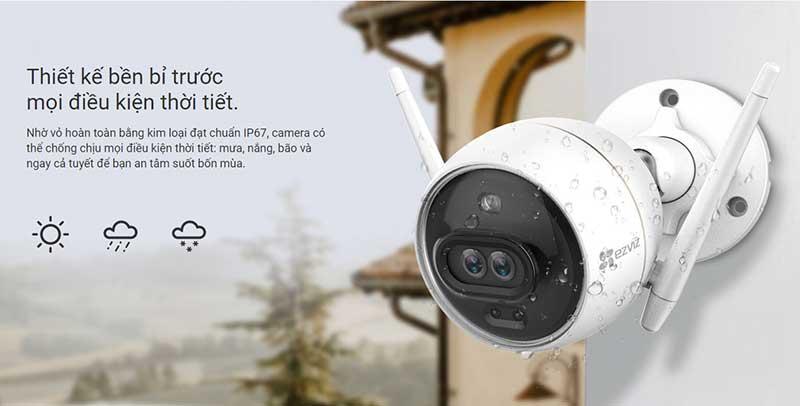 Camera đạt chuẩn IP67, chống chịu mọi điều kiện thời tiết.